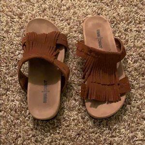 Brown frayed sandals